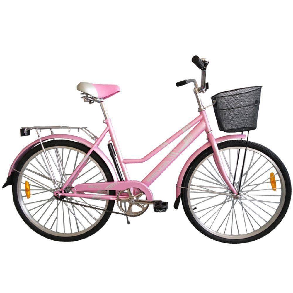 Bicicleta Benoá de cor rosa, aro vinte e seis e um cesto.